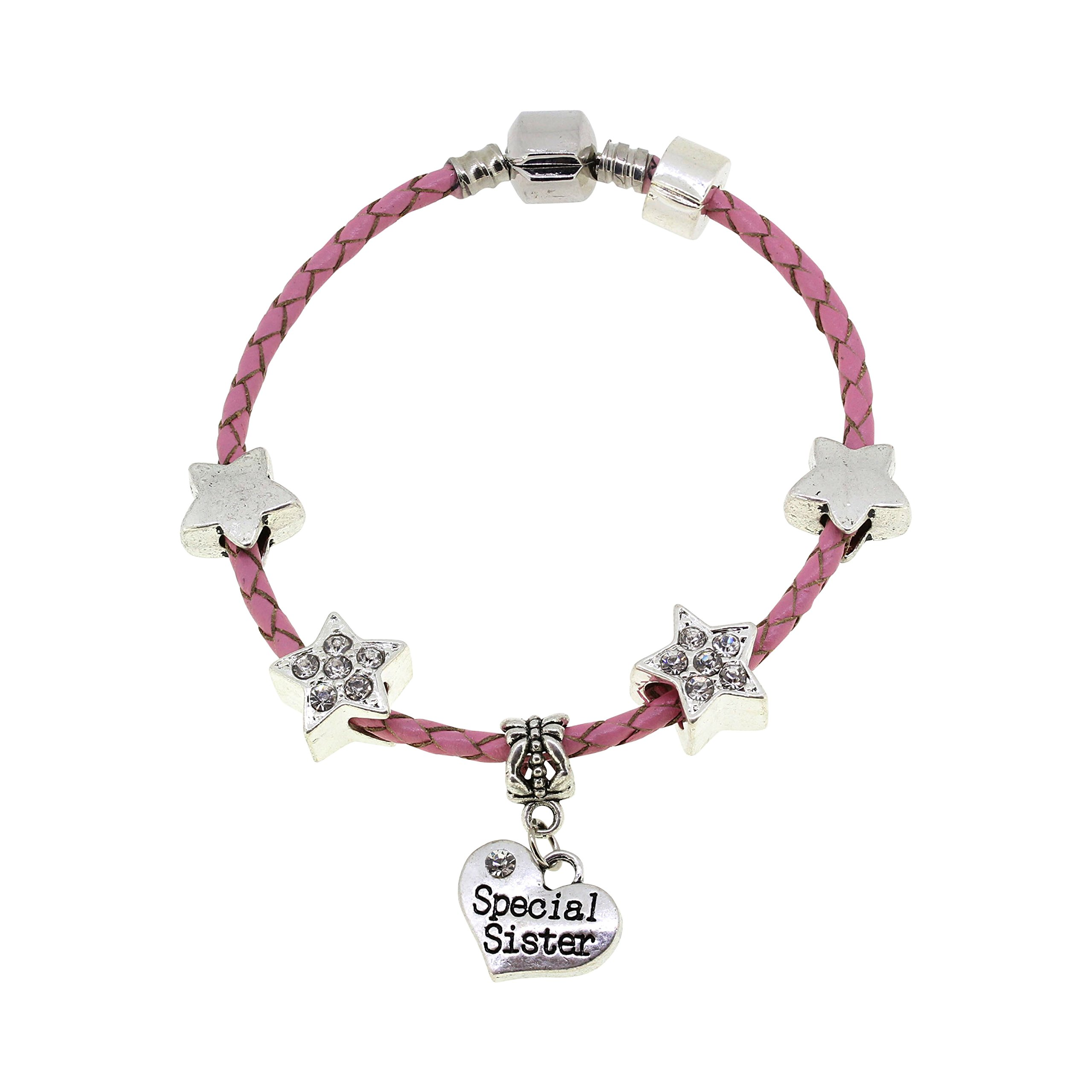 Big Sister You're a Star Pink Leather Charm Bracelet Gift Boxed 19cm