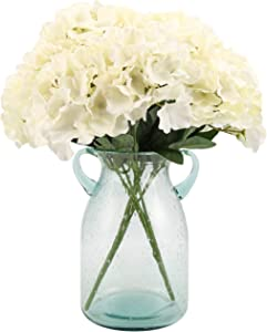 Artificial Silk Hydrangea Bouquet Fake Flowers Arrangement Home Wedding Decor,1 Bunch of 5 Flowers Fake Floral Centerpieces Arrangements DIY White