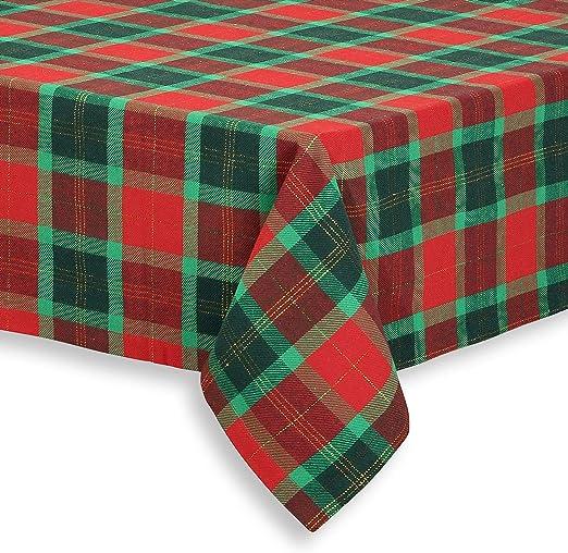 "A Large Rectangular Red//Green Tartan  Christmas Tablecloth 52/"" x 90/"""