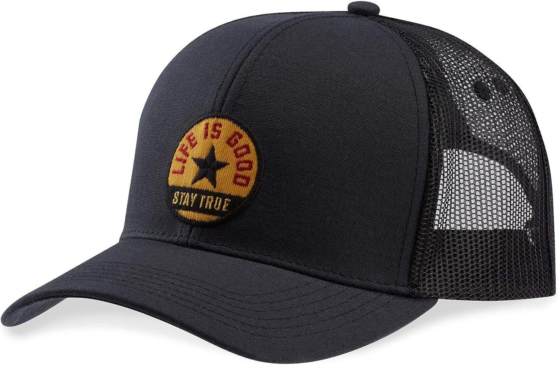 Life is Good Star Hard Mesh Back Cap Adjustable Black