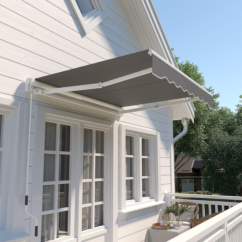 Protecci/ón Solar Gris Ahumado GRA200GY Anti UV y Repelente al Agua 200 x 150 cm SONGMICS Toldo Extensible de 2 m Toldo Manual