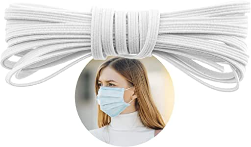 """Elastic Band for Sewing - 1/8"""" (3.5mm) Heavy Stretch Flat Bungee - Arts and Crafts, DIY Face Masks – Knit Braided Cord - Stretchy String for Earloop - 20 Yards (White), by Adolfo Designs"""
