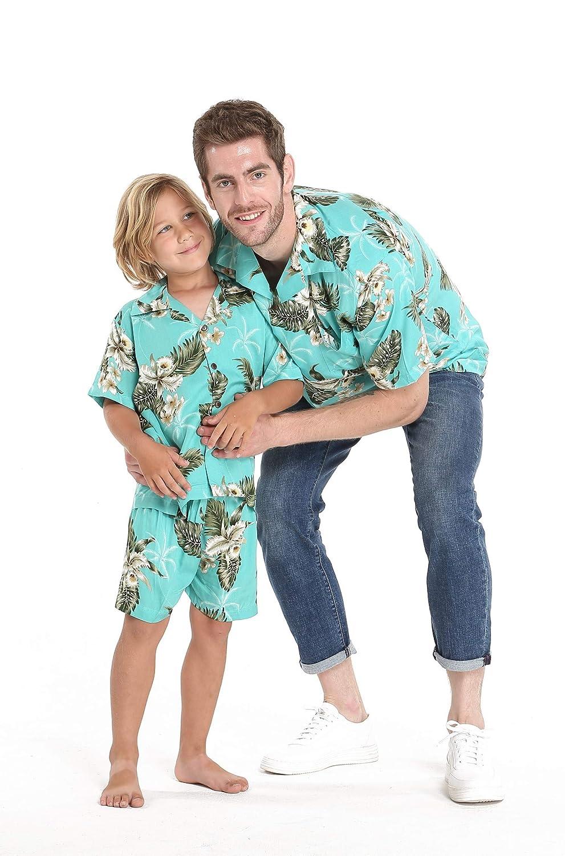 Matching Hawaiian Luau Outfit Men Boy Shirts in Palm Green