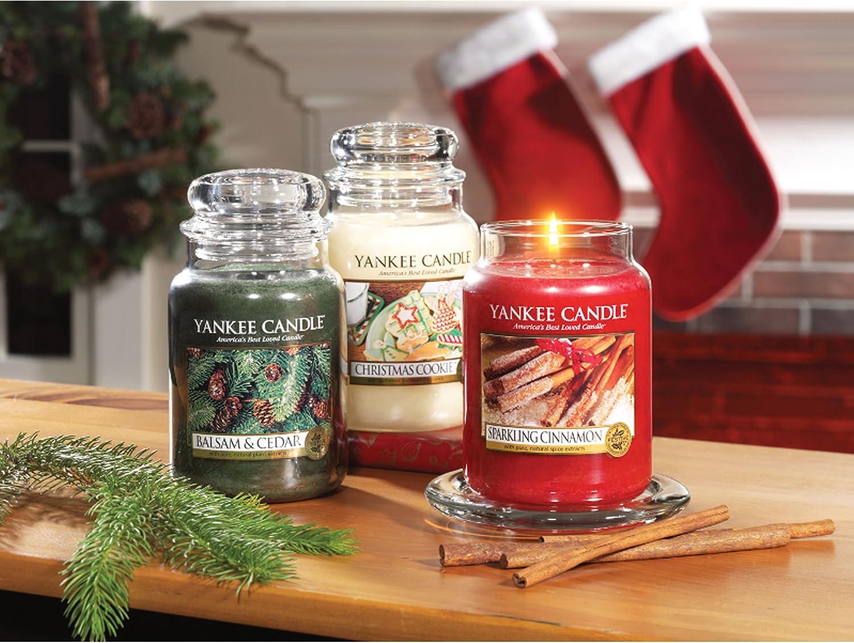 Jarre YANKEE CANDLE 1100954E Bougie en Pot Parfum Cannelle P/étillante//Sparkling Cinnamon Rouge 104 grammes