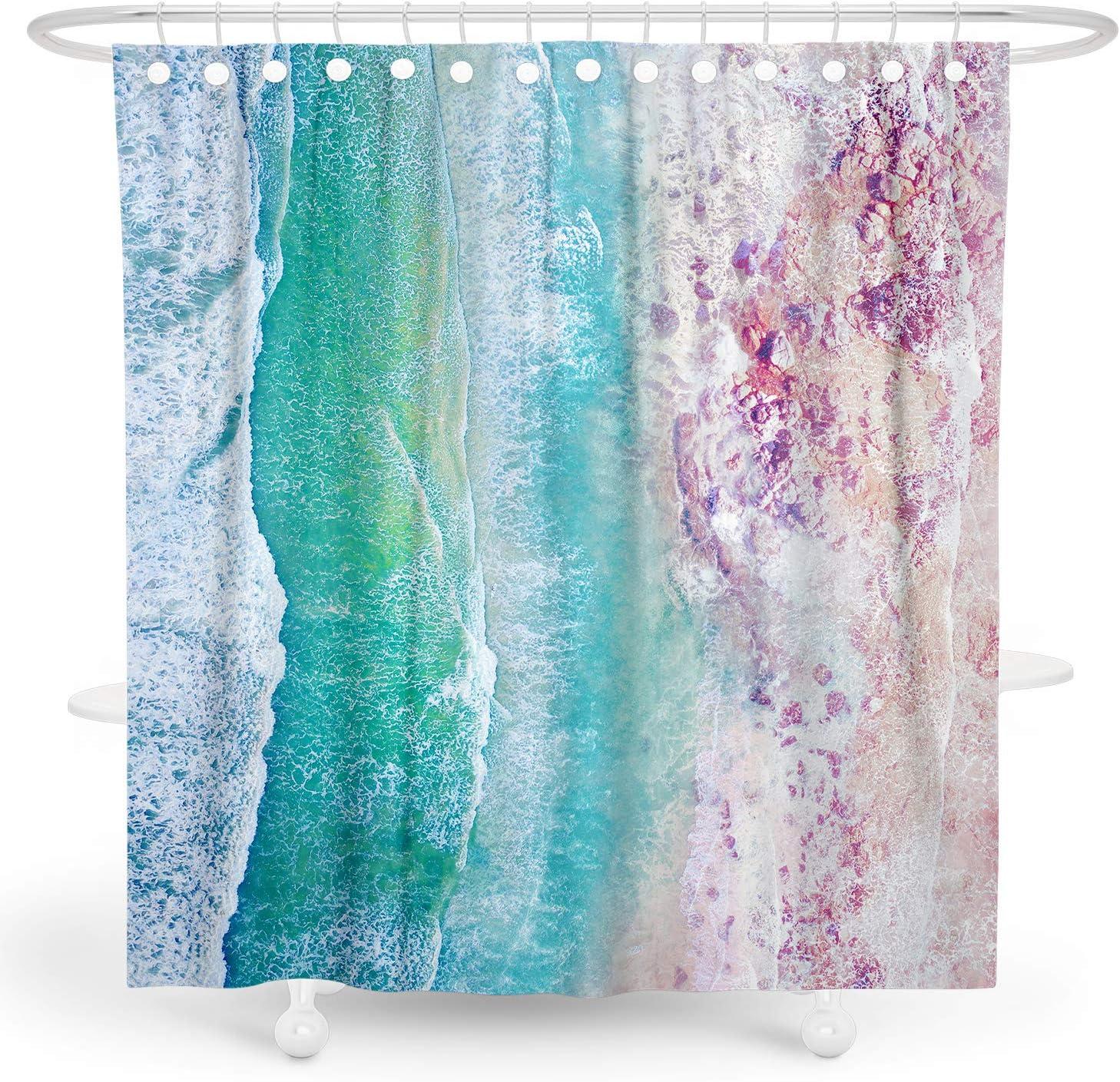 Summer Sea Beach Surfing Board Creative Fabric Shower Curtain Set Bathroom Decor