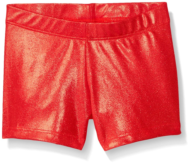Gia Mia Dance Big Girls Metallic Short, Red, Medium