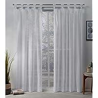 Exclusive Home Belgian Sheer Braided Tab Top Curtain Panel Pair, Snowflake, 50x84, 2 Piece