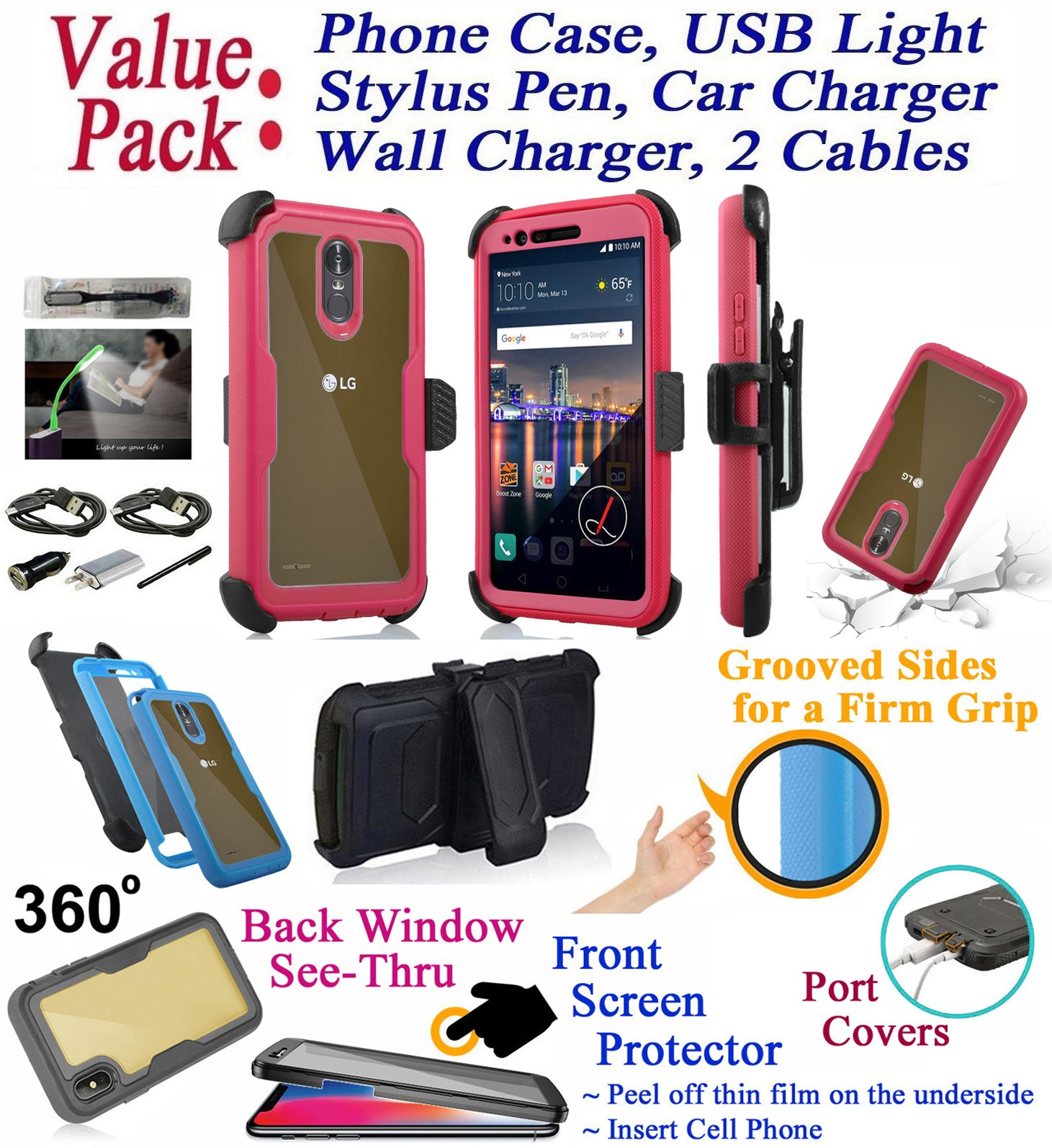 Value Pack + for LG Stylo 3 K10 PRO Stylus 3 + PLUS Case Clip Holster Phone Case 360° Cover Screen Protector Back Window Kickstand Shcok Armor (Pink)