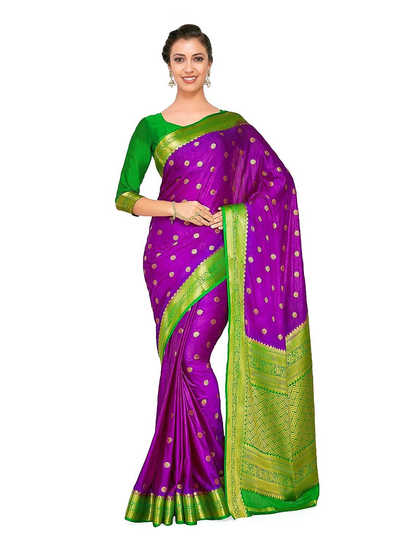 f0b19e51dc83fb Mimosa Art Crape silk saree Kanjivarm Pattu style With Contrast Blouse  Color: Purple (4272-2271-2D-MEJ-GRN): Amazon.in: Clothing & Accessories