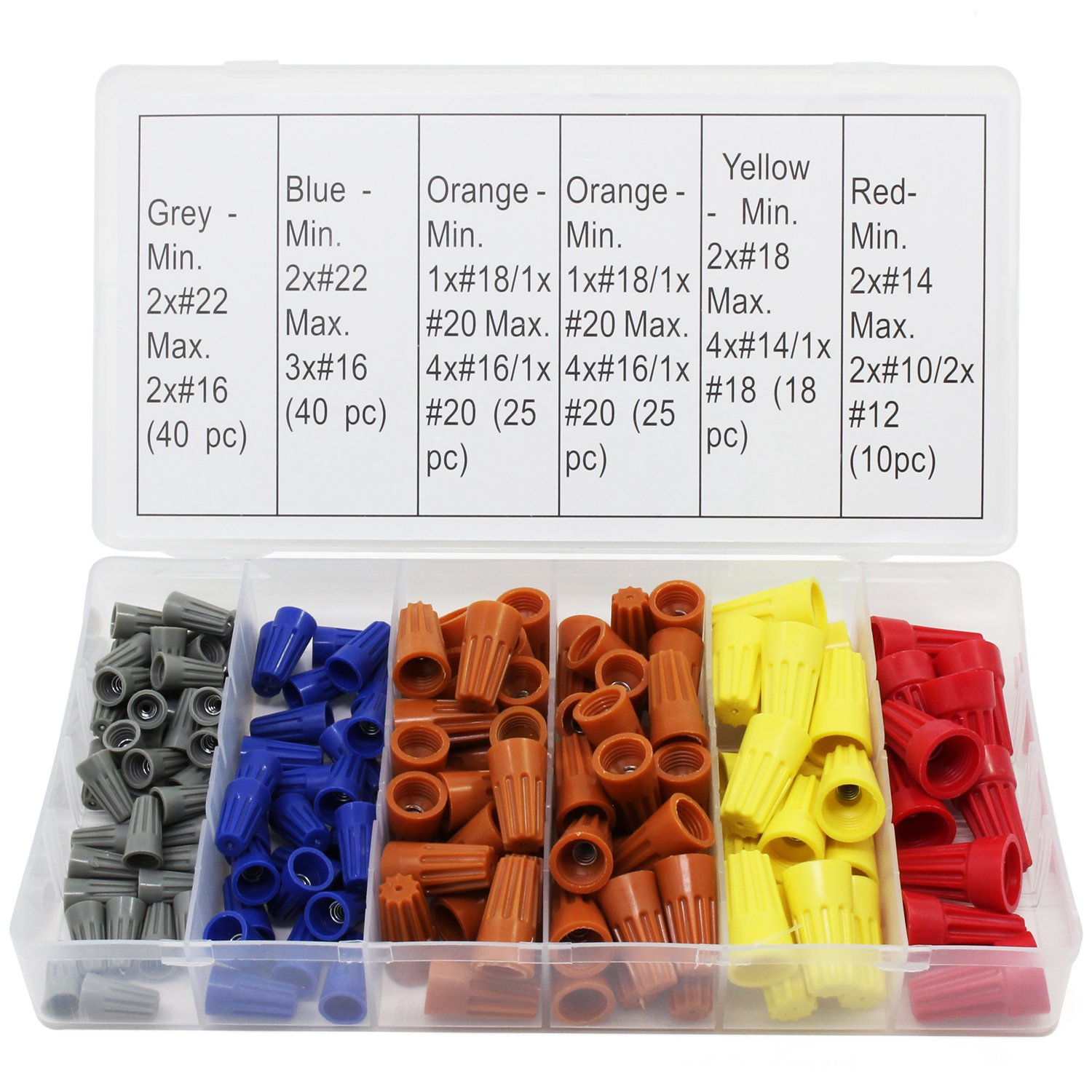 OCR Electrical Wire Connector Twist-On Screw Terminal Spring Inserted Nuts Caps Assortment Set 158PCS by OCR (Image #1)