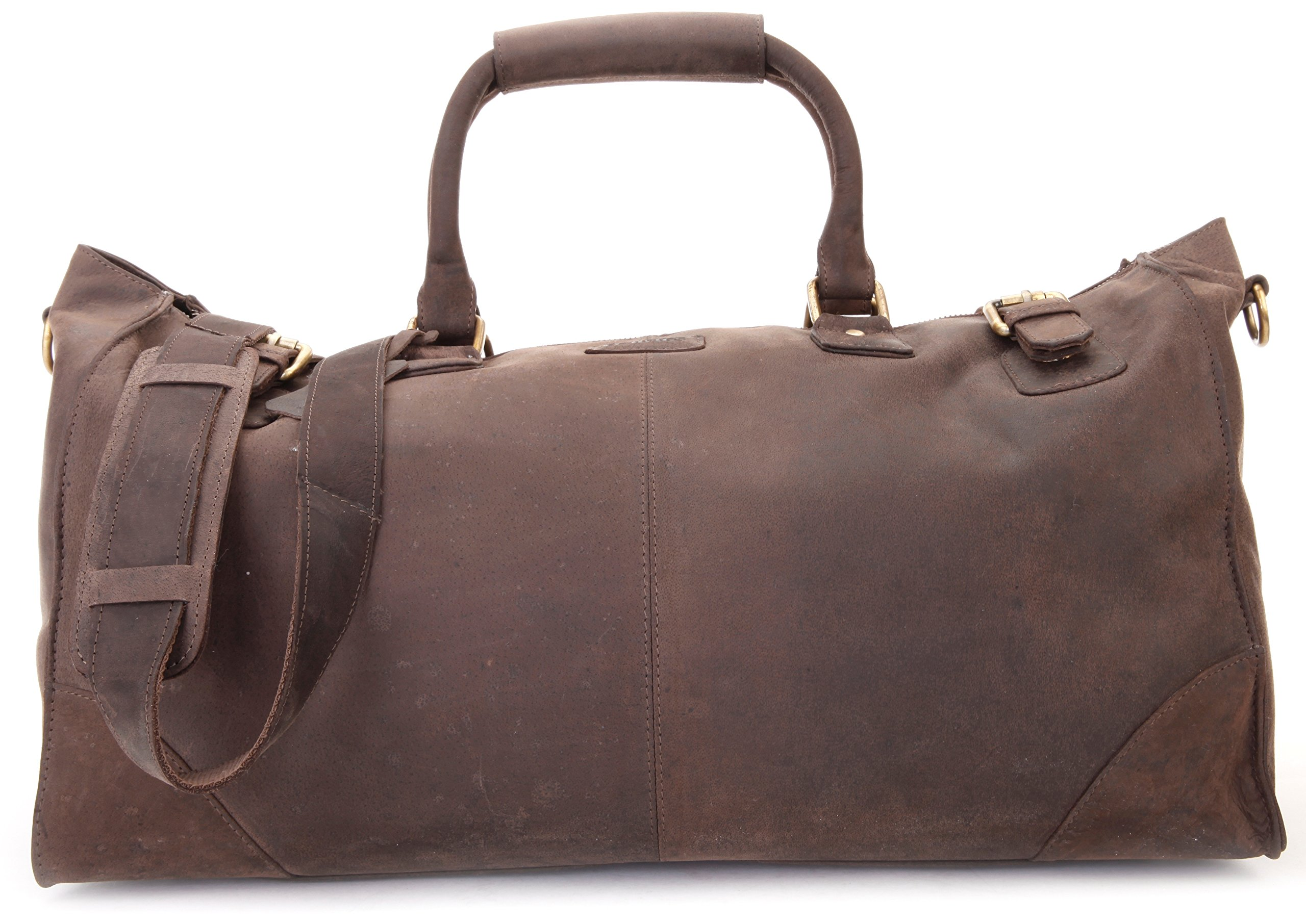 LEABAGS Durham genuine buffalo leather duffle bag in vintage style - Nutmeg by LEABAGS (Image #6)