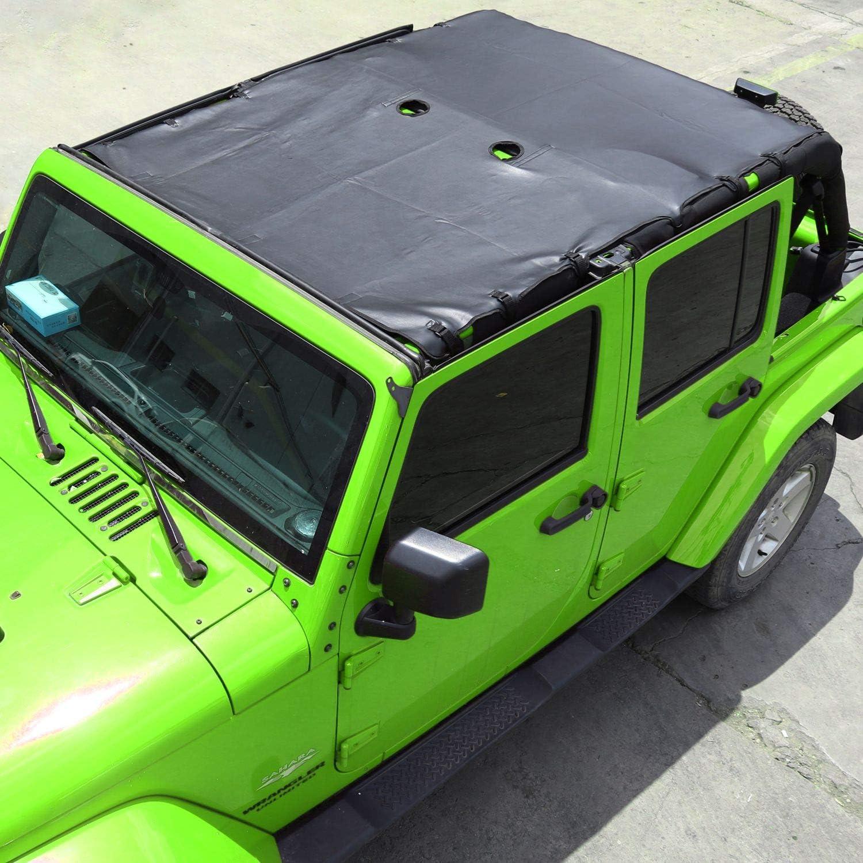 RT-TCZ Soft Leather Sunshade Top Full Length Cover for Jeep Wrangler 2007-2018 JK JKU 4 Door Black