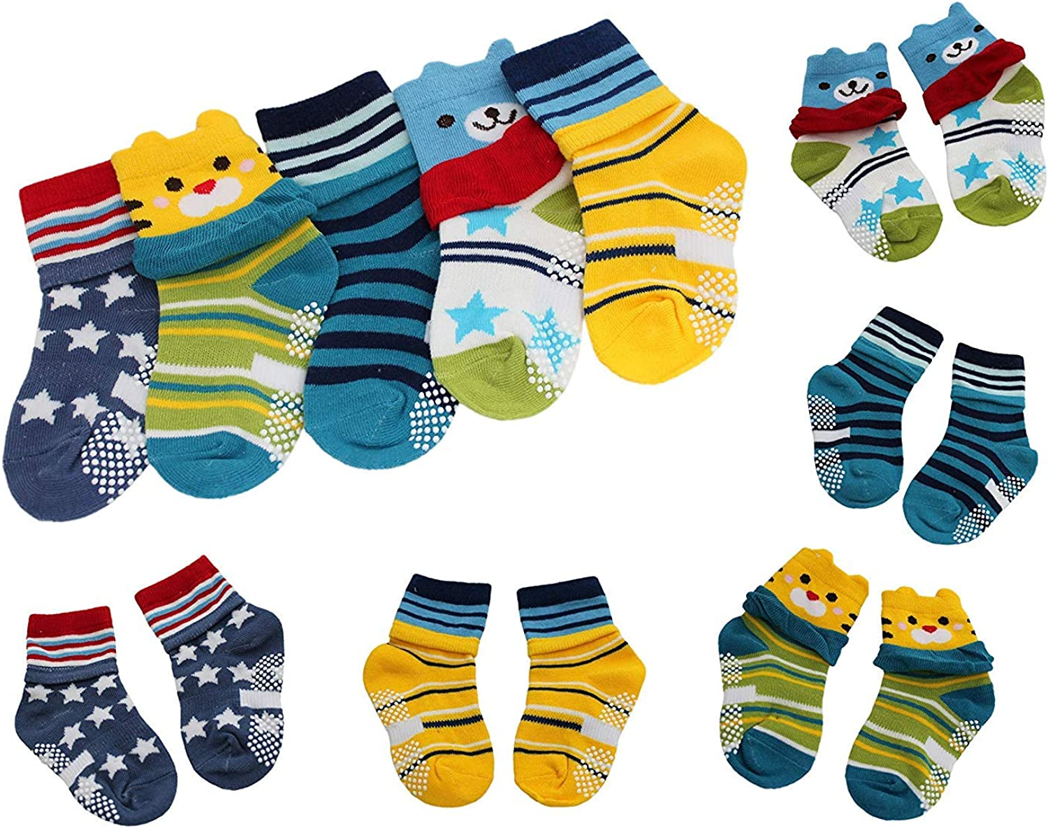 5 Pairs Baby Boy Girl Bears Stars Stripes Non-slip Ankle Socks Age 1 2 3