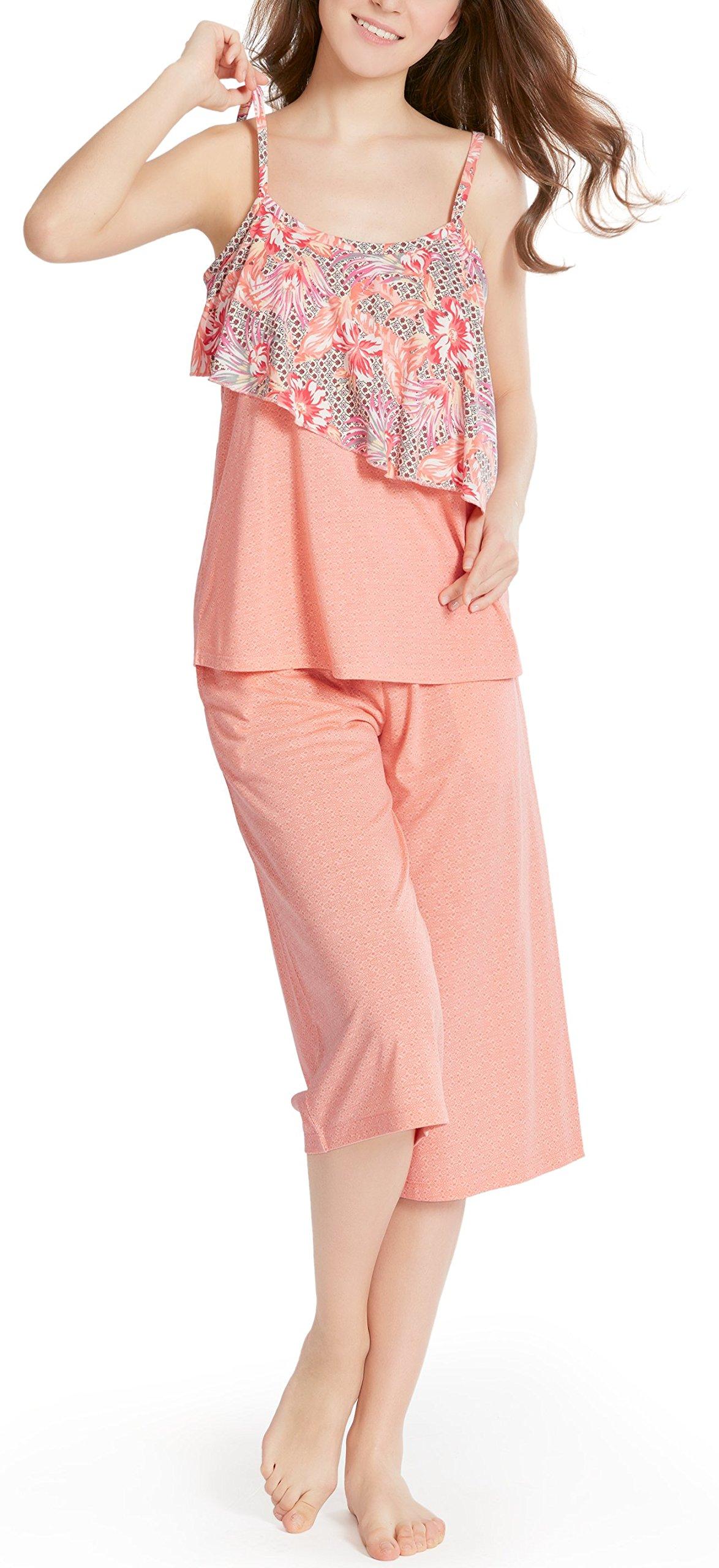 Summer Pajamas for Women, Camisole Capri Pajama for Woman - Pjs Women Tank Tops Lounge Capris Sets Bermuda XXL
