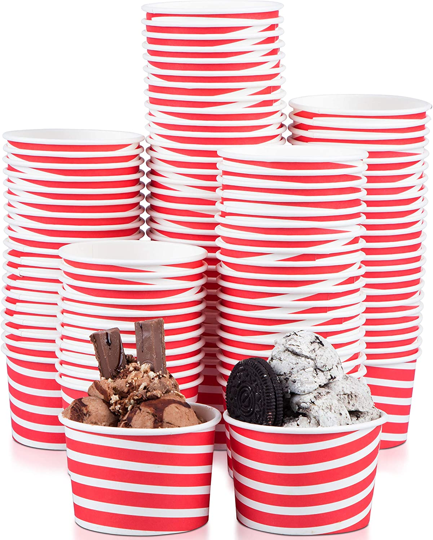 Typtop Ice Cream Cups - 100 Pack Ice Cream Sundae Cups, Frozen Yogurt Dessert Cups