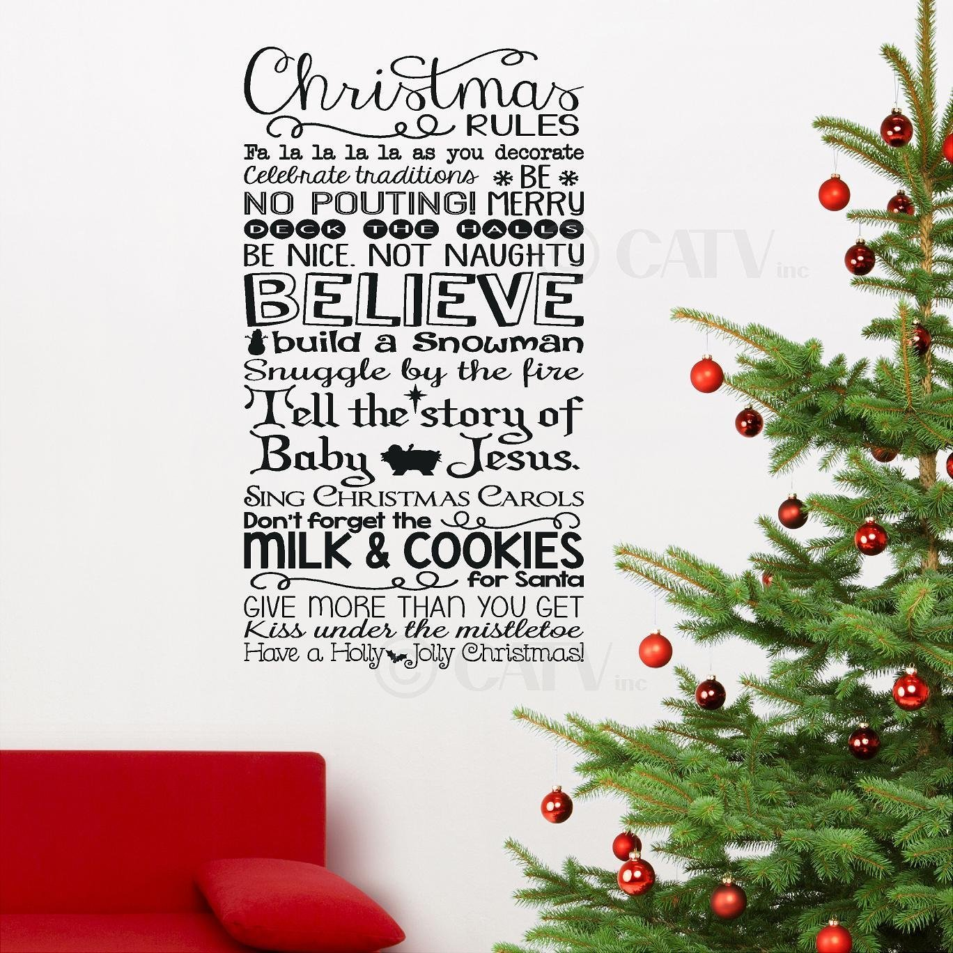 Christmas Rules subway art Vinyl Decal Sticker Lettering Gift idea ...