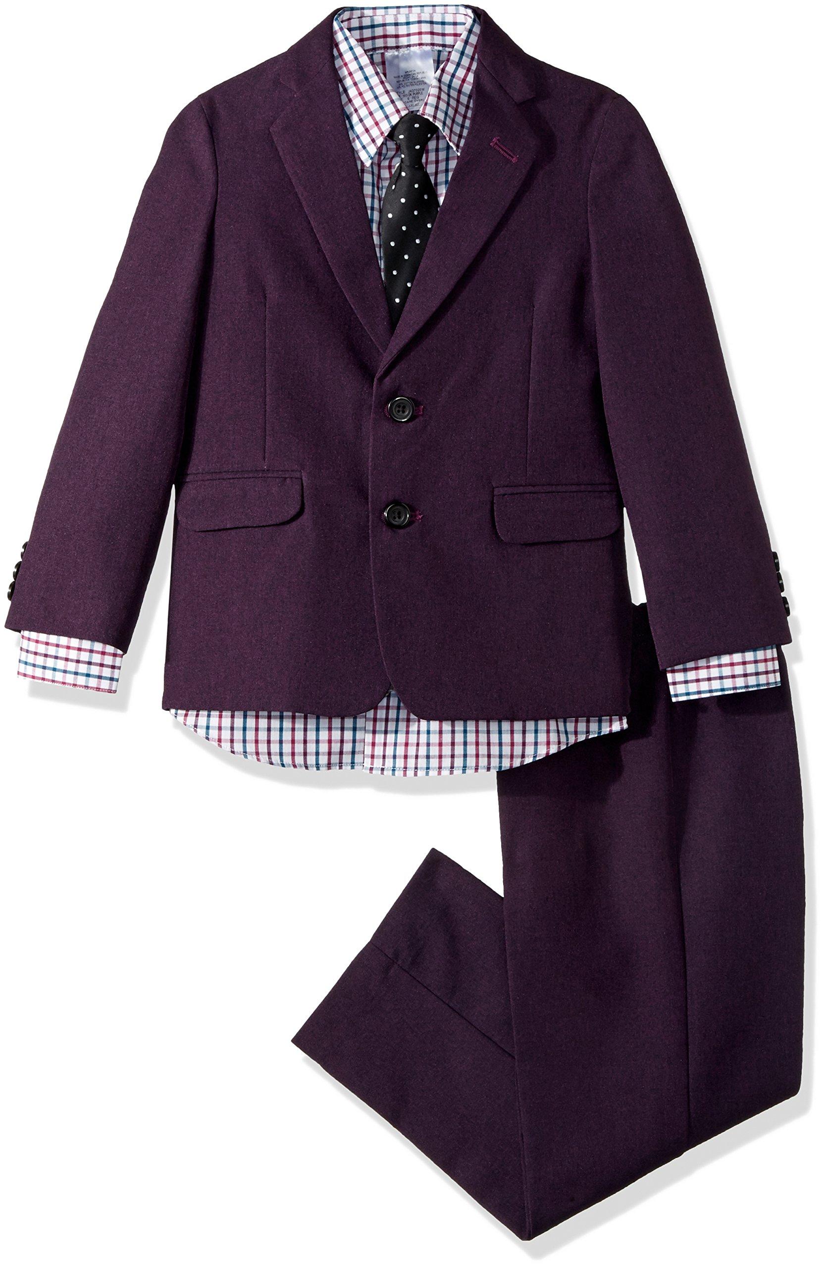 Steve Harvey Boys' Five Piece Suit Set, Dark Purple, 7