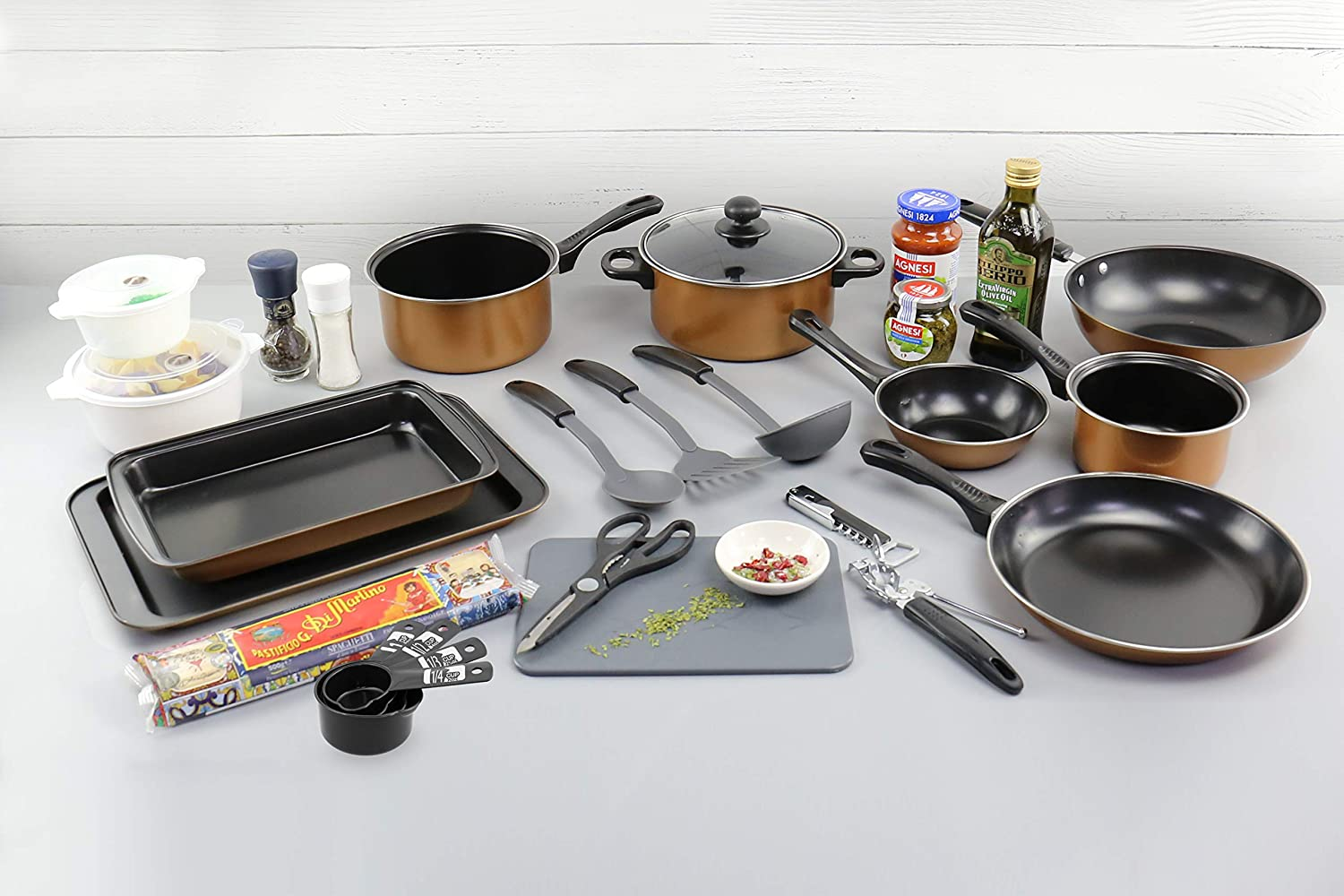 URBN-CHEF 21pc Kitchen All-in-One Starter Pack Copper Style EGT