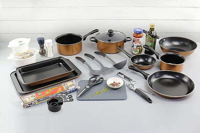 URBN-CHEF - Pack de iniciación para cocina, 21 piezas, estilo cobre ...