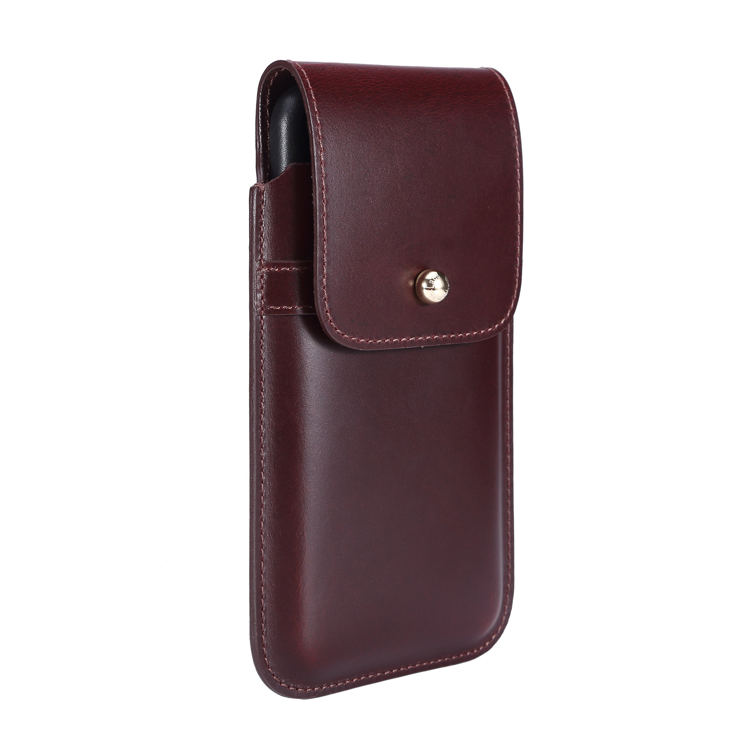 Blacksmith-Labs Barrett Mezzano 2017 Premium Genuine Leather Swivel Belt Clip Holster for Apple iPhone 7 Plus (5.5 inch screen) for use with Apple Leather Case - Burgundy Cowhide/Gold Belt Clip