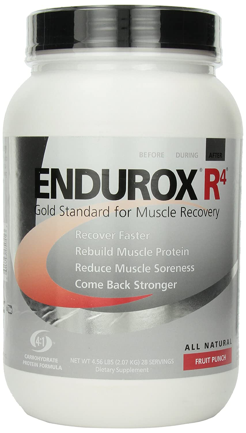 PacificHealth Endurox R4, All Natural Post Workout Recovery Drink Mix with Protein, Carbs, Electrolytes and Antioxidants for Superior Muscle Recovery, Net Wt. 4.56 lb., 28 serving (Fruit Punch)