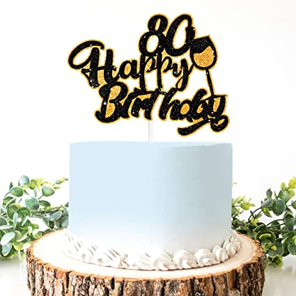 Pleasing Amazon Com Aerzetix Birthday Decoration Happy 80Th Birthday Cake Funny Birthday Cards Online Aboleapandamsfinfo