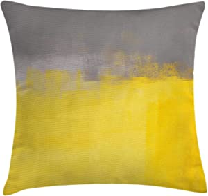 """Ambesonne Grey and Yellow Throw Pillow Cushion Cover, Grunge Street Style Painting Brush Print Ombre Design Illustration, Decorative Square Accent Pillow Case, 16"""" X 16"""", Dimgray Yellow"""