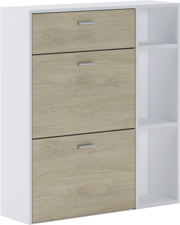color estructura Blanca medidas:/ 90 cm modelo Wind x 101.5 cm fondo color Puccini en las 2 puertas basculantes y el caj/ón alto x 26 cm SelectionHome Armario Zapatero ancho