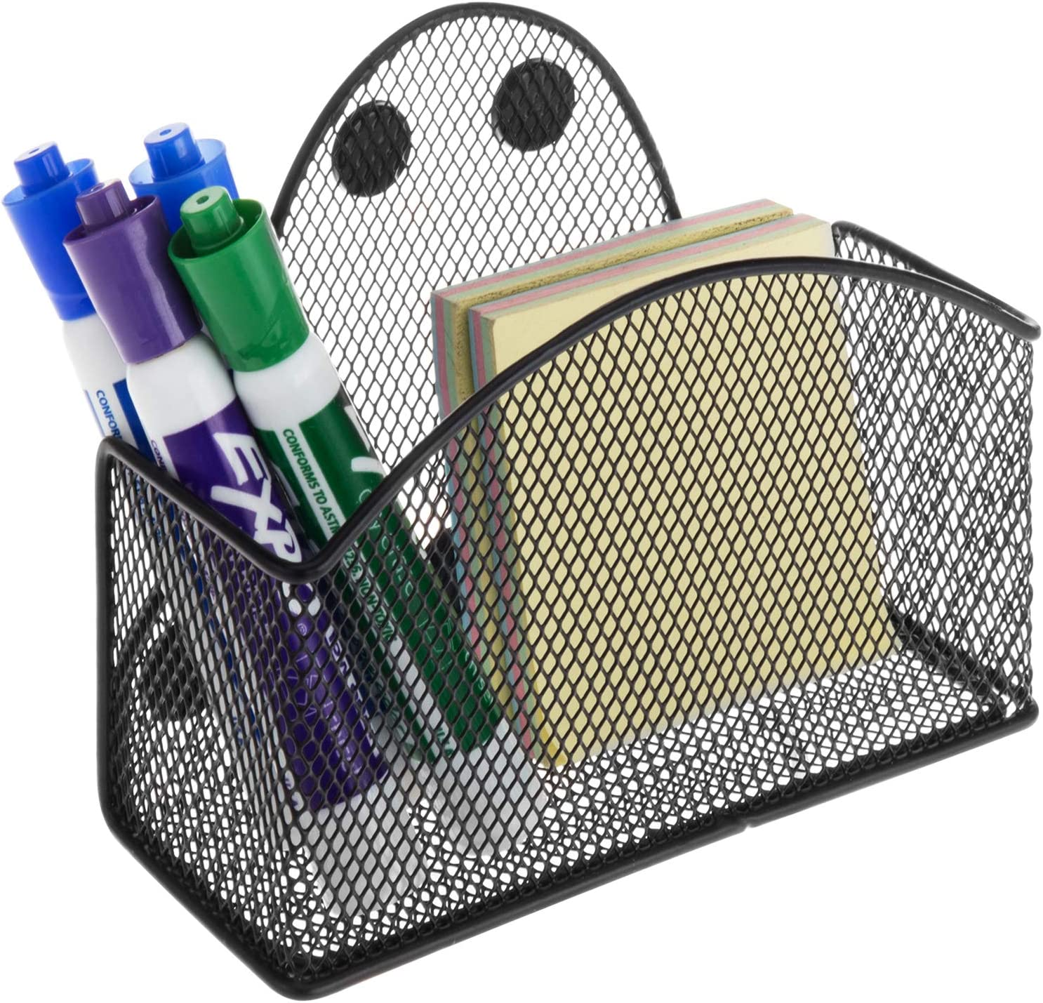 MyGift Magnetic Black Metal Mesh Wall Storage Basket for Office Supplies, Dry Erase Markers, Erasers and Spray Bottles