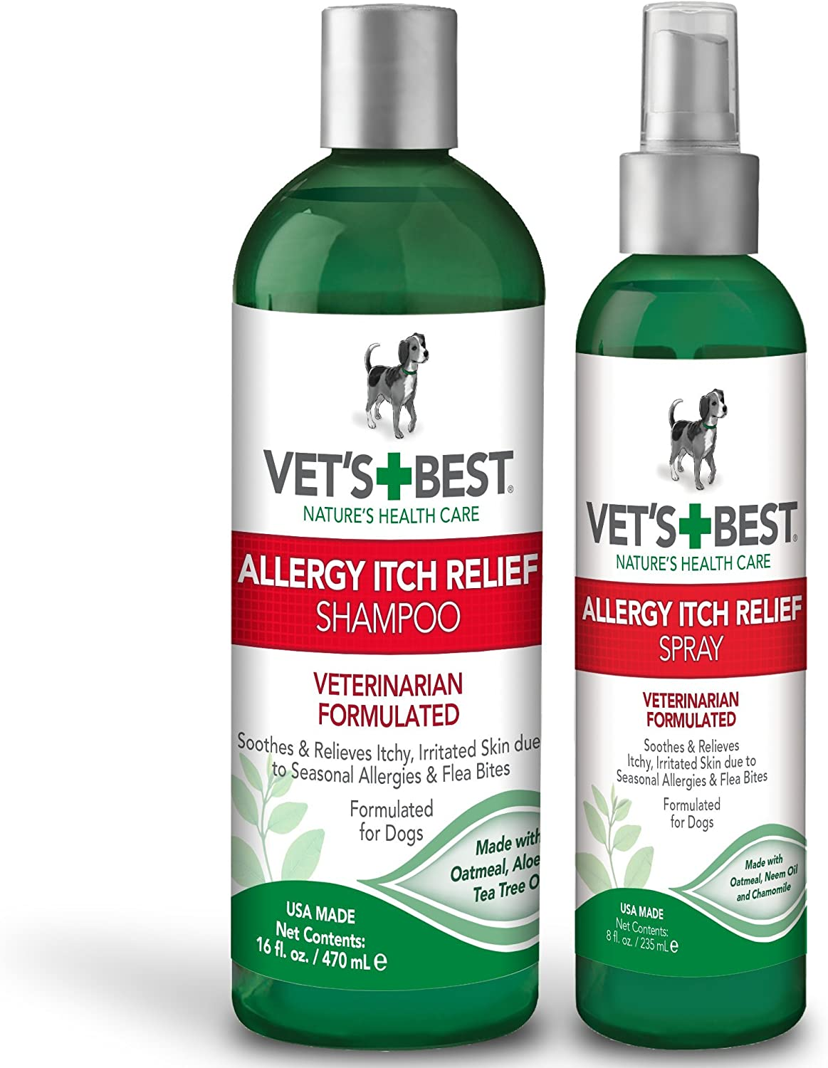 Vet's Best Allergy Itch Relief Dog Shampoo, 16 ounce and Allergy Itch Relief Spray for Dogs, 8 ounce