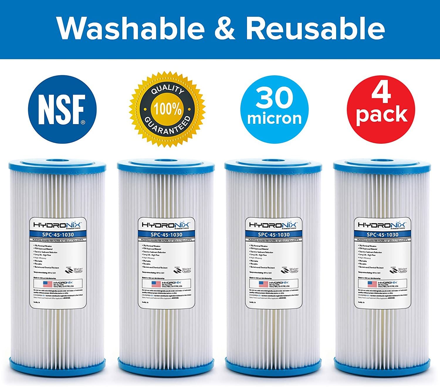 Hydronix 4 Pack SPC-45-1030 R30-BB RS6 Compatible Whole House Sediment Pleated Water Filter Washable Reusable 4.5 x 10, 30 Micron