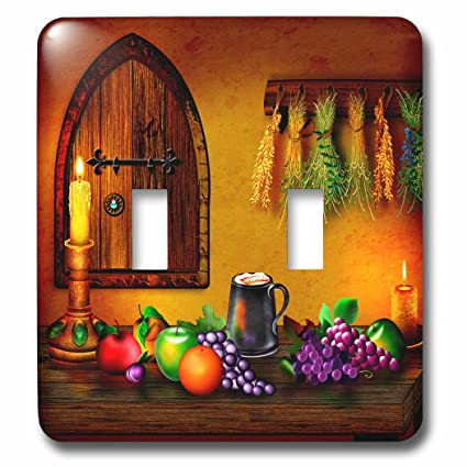3dRose (lsp_262344_2) Double Toggle Switch (2) Lovely Medieval Room, Wooden  Table, Tankard, Fruit and Glowing Candles