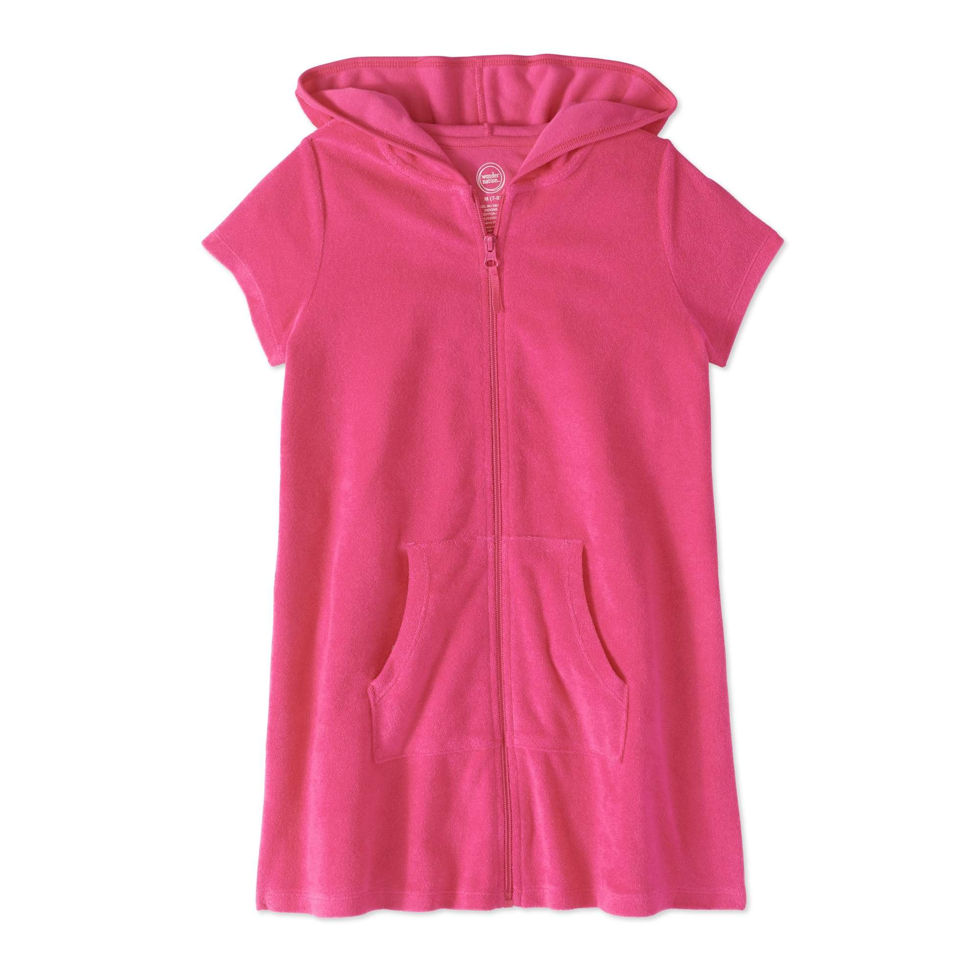Wonder Nation Girls Hooded Zip Front Terry Swimsuit Cover Up (Small 6/6X, Radiant Burst Pink)