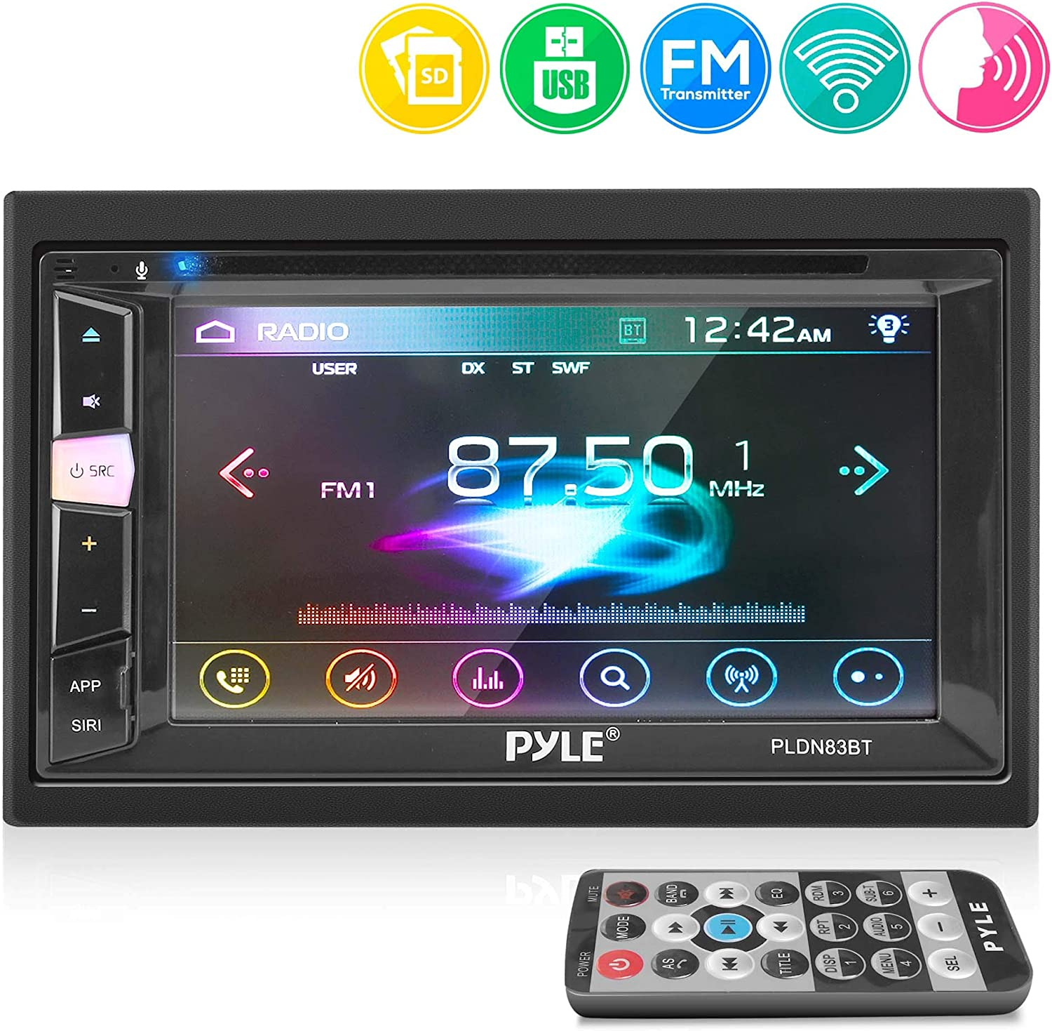 Pyle Double Din DVD Car Stereo PlayerBluetooth in-Dash Car Stereo Touch Screen Receiver w/USB/SD, MP3, CD Player, AM FM Radio, Steering Wheel Feature, Hands-Free Call, Camera/Speaker Input