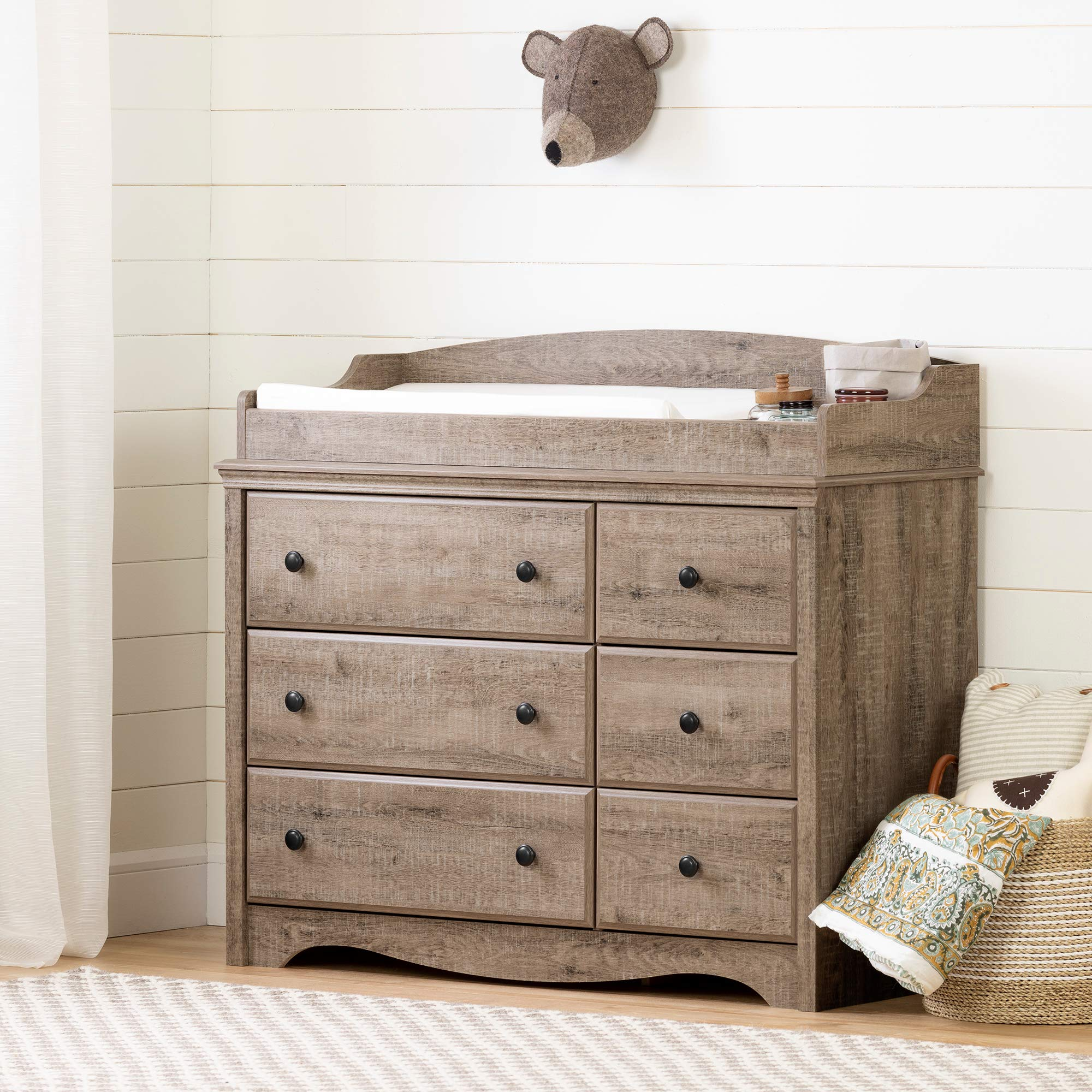 South Shore 12547 Angel Changing Table 6-Drawers-Weathered Oak by South Shore
