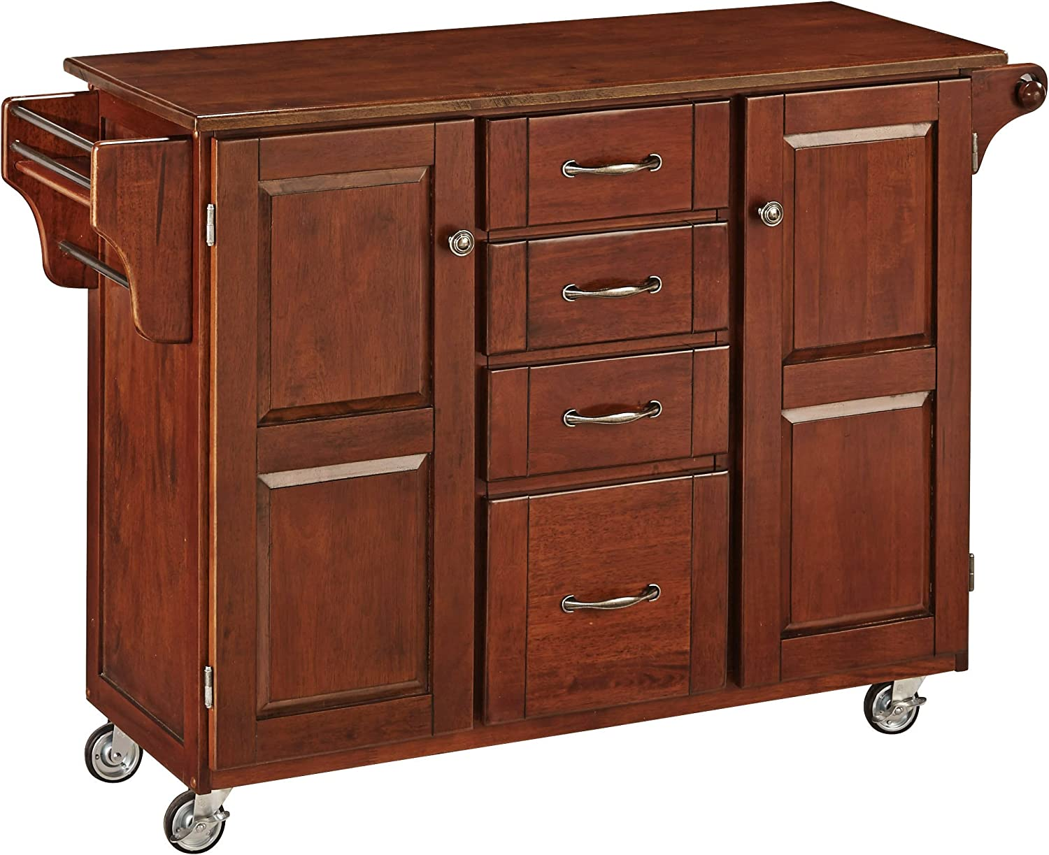 Create-a-Cart Cherry 2 Door Cabinet Kitchen Cart with Cherry Top by Home Styles