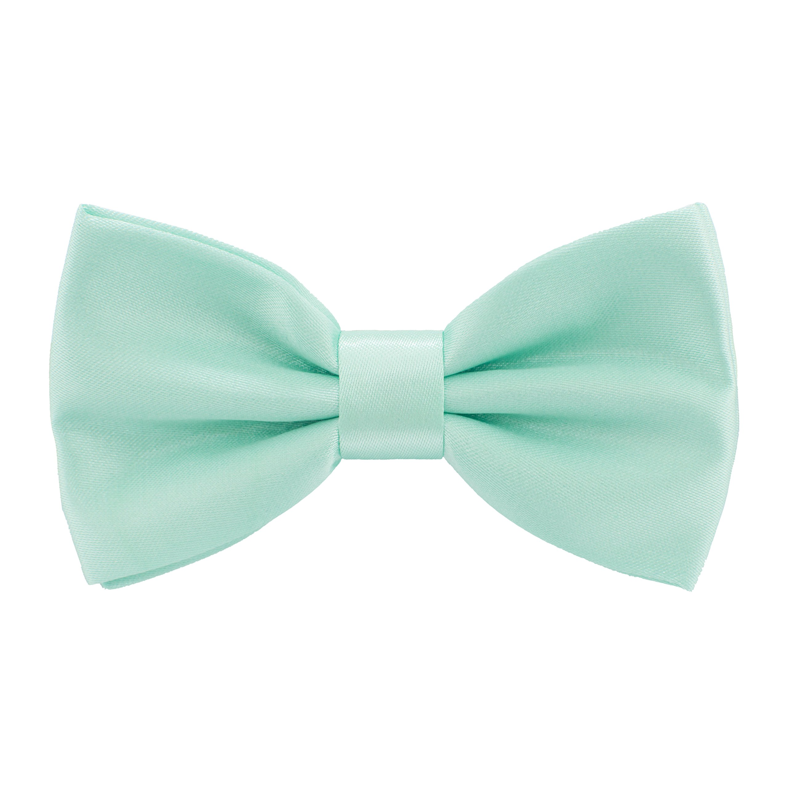 Satin Classic Pre-Tied Bow Tie Formal Solid Tuxedo, by Bow Tie House (Small, Mint)