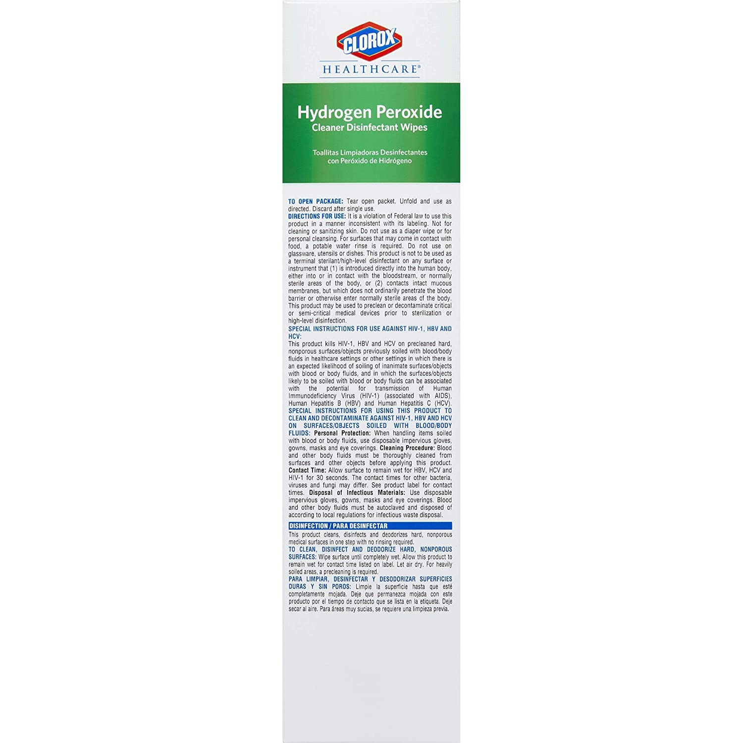 Amazon.com: Clorox Healthcare Hydrogen Peroxide Cleaner Disinfectant Wipes, individual 50 Wipes (31426): Industrial & Scientific
