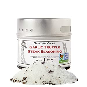 Gustus Vitae - Garlic Truffle Steak Rub - Non GMO Verified - Magnetic Tin - 3.1 Ounce - Authentic Gourmet Seasoning & Artisanal Spice Blend - Crafted in Small Batches
