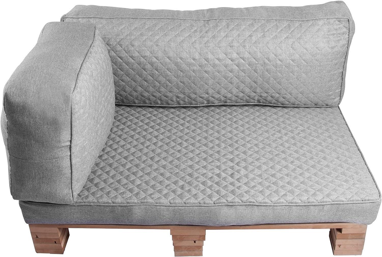 WOLTU Palettenkissen Seitenkissen Sofa Couch Kissen Outdoor Seitenlehne 60x40x20cm Bankauflage Grau SKN006gr