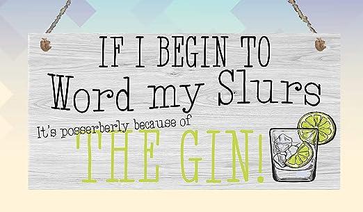 Dozili Divertido Gin Slurs Placa Colgante día de la Madre ...