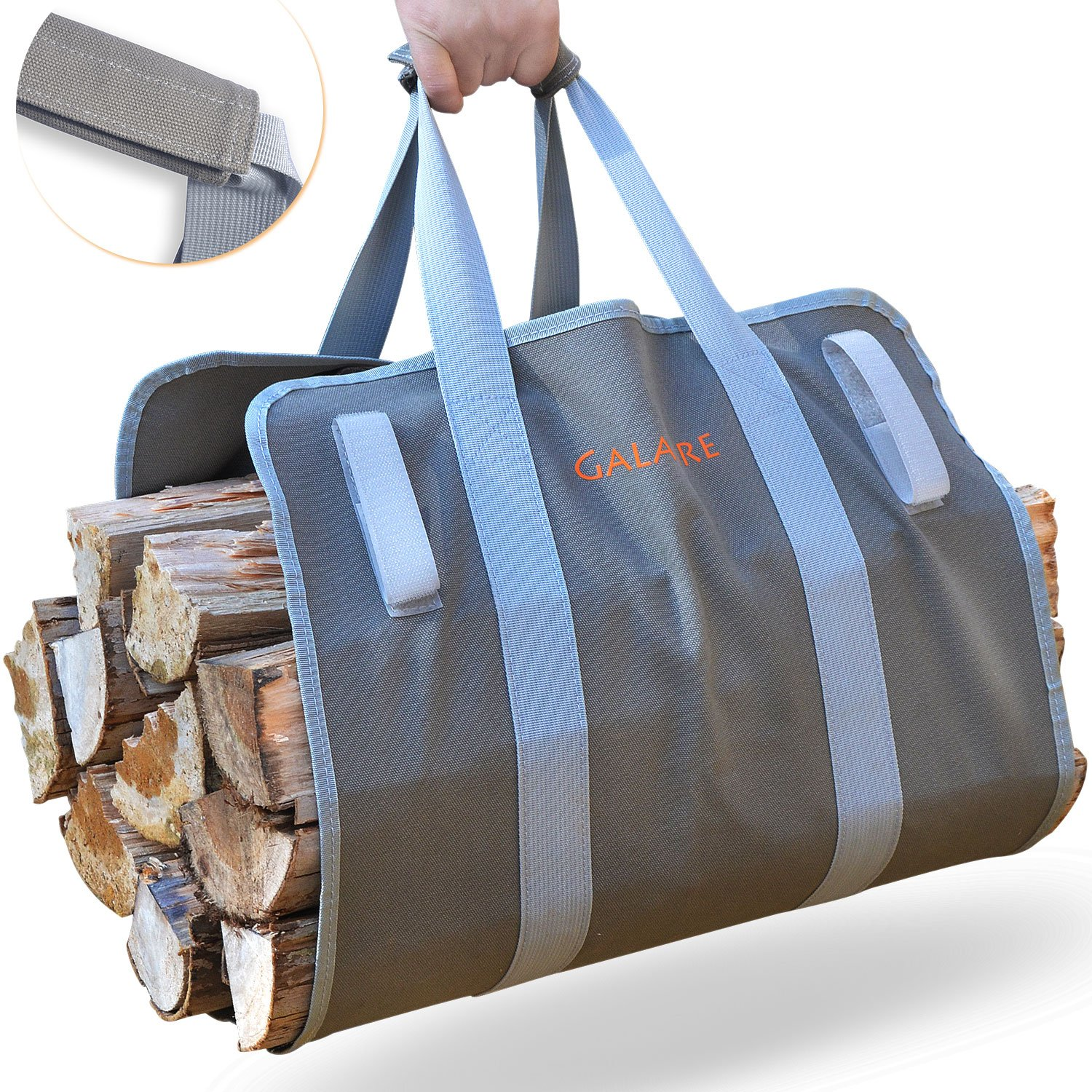 GALAFIRE Premium Quality Supersized Firewood Carrier Log Tote Heavy 16oz Canvas Comfortable Padded Handles Foldable with Hook and Loop by GALAFIRE