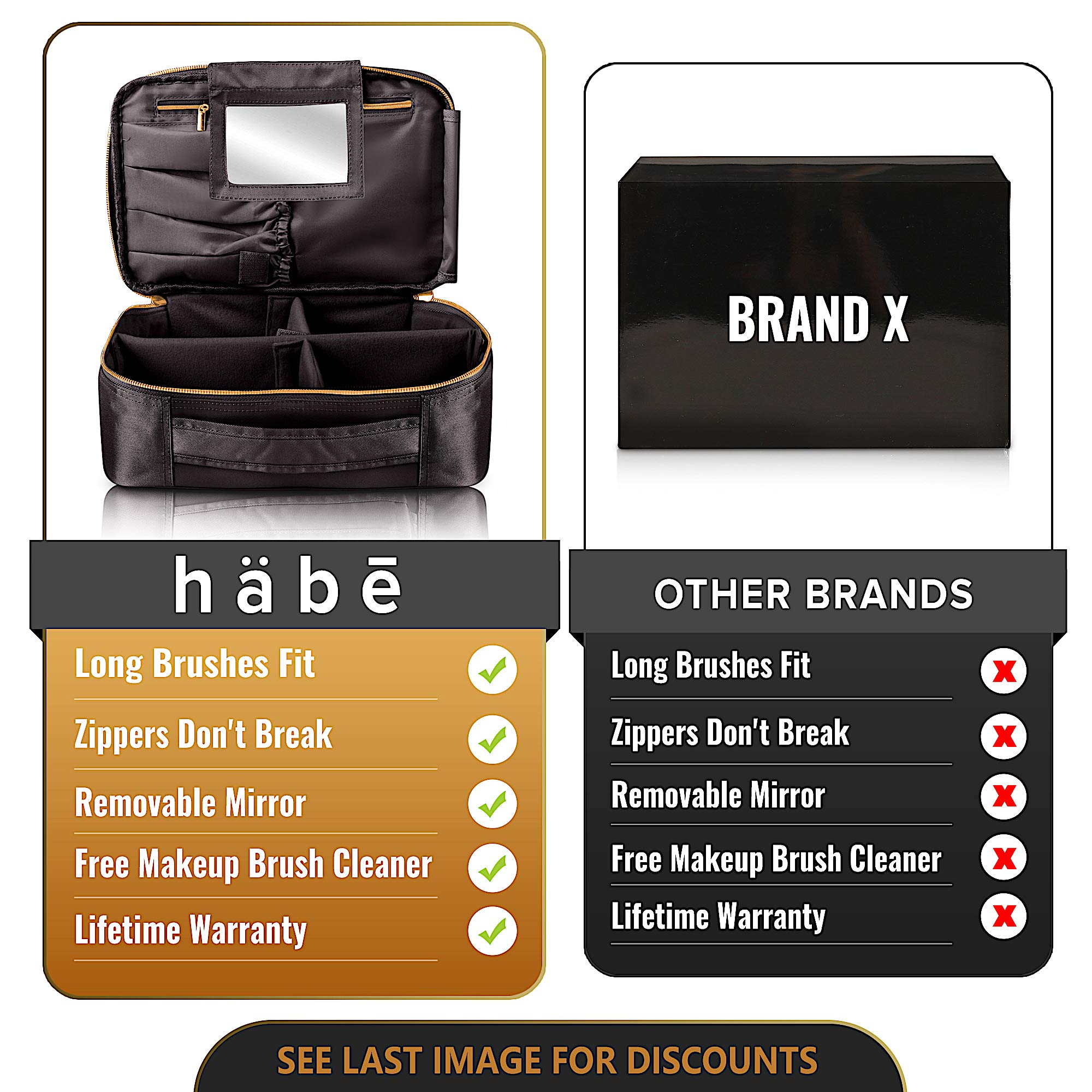 habe Travel Makeup Bag with Mirror - Organize Your Makeup! Make Up Bag Organizer Train Case for Women - Storage Capacity of 3 Cosmetic Bags/Make Up Bags/Make Up Cases (BONUS Make-Up Brush Cleaner) by häbe (Image #7)