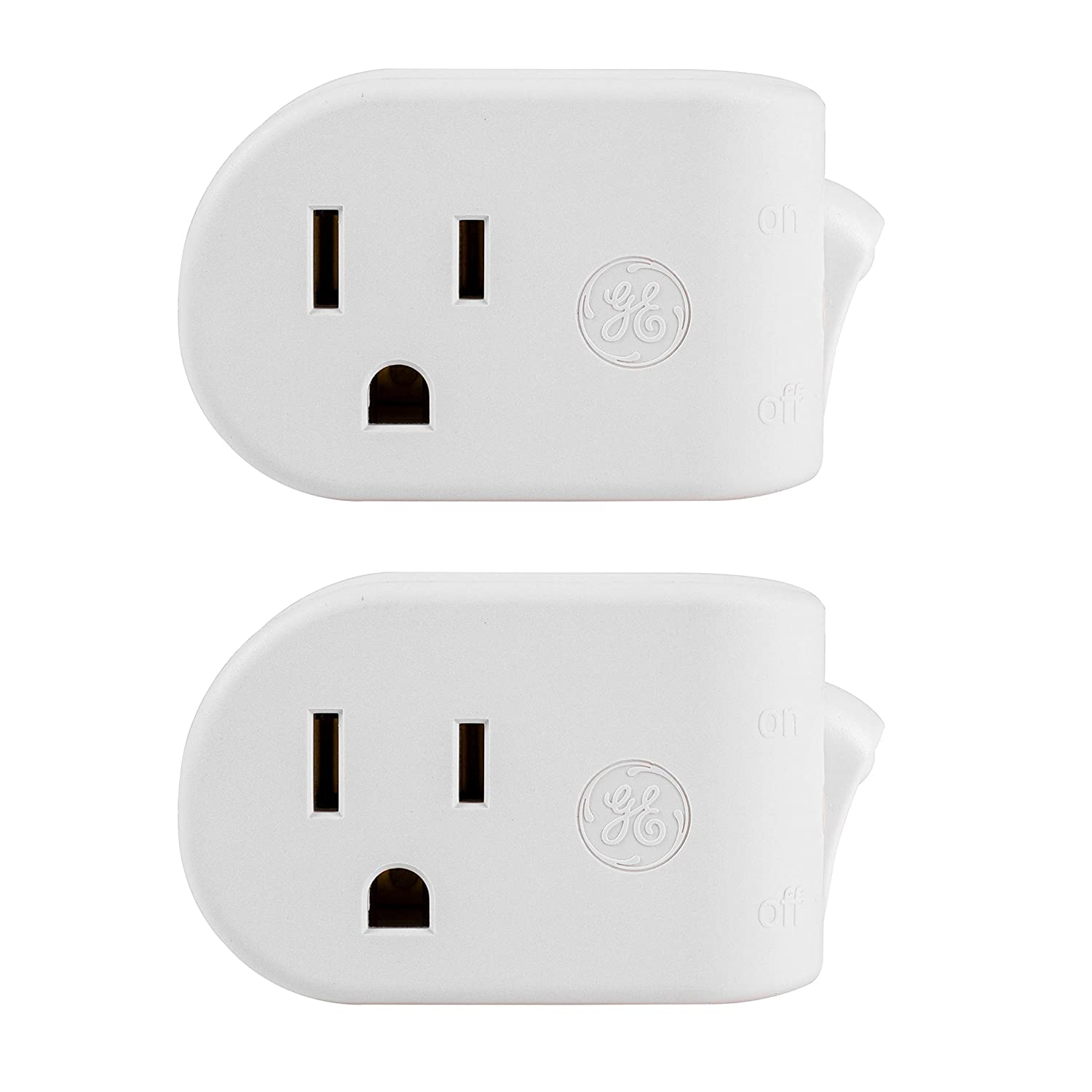 2-Pack : GE Grounded On/Off Power Switch, Plug-In, White, Energy Efficient, Space Saving Design, UL Listed, 15A, 120VAC, 1800W, 39713