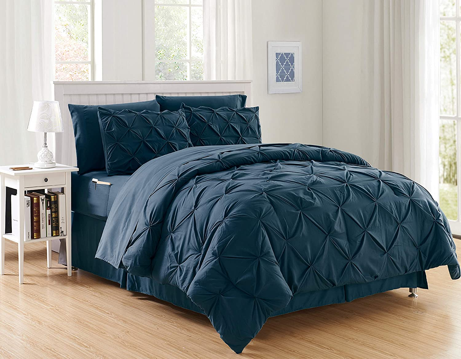 Luxury Best, Softest, Coziest 6-Piece Bed-in-a-Bag Comforter Set on Amazon! Elegant Comfort - Silky Soft Complete Set Includes Bed Sheet Set with Double Sided Storage Pockets, Twin/Twin XL, Navy Blue