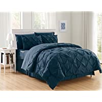 Elegant Comfort Luxury Best, Softest, Coziest 6-Piece Bed-in-a-Bag Comforter Set on Amazon Silky Soft Complete Set Includes Bed Sheet Set with Double Sided Storage Pockets, Twin/Twin XL, Navy