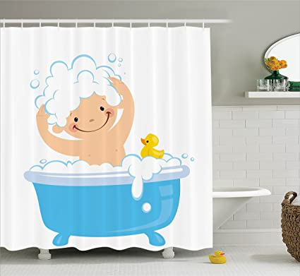 Lunarable Nursery Shower Curtain Baby Boy With Smiley Face Having Bubble Bath Rubber Duck