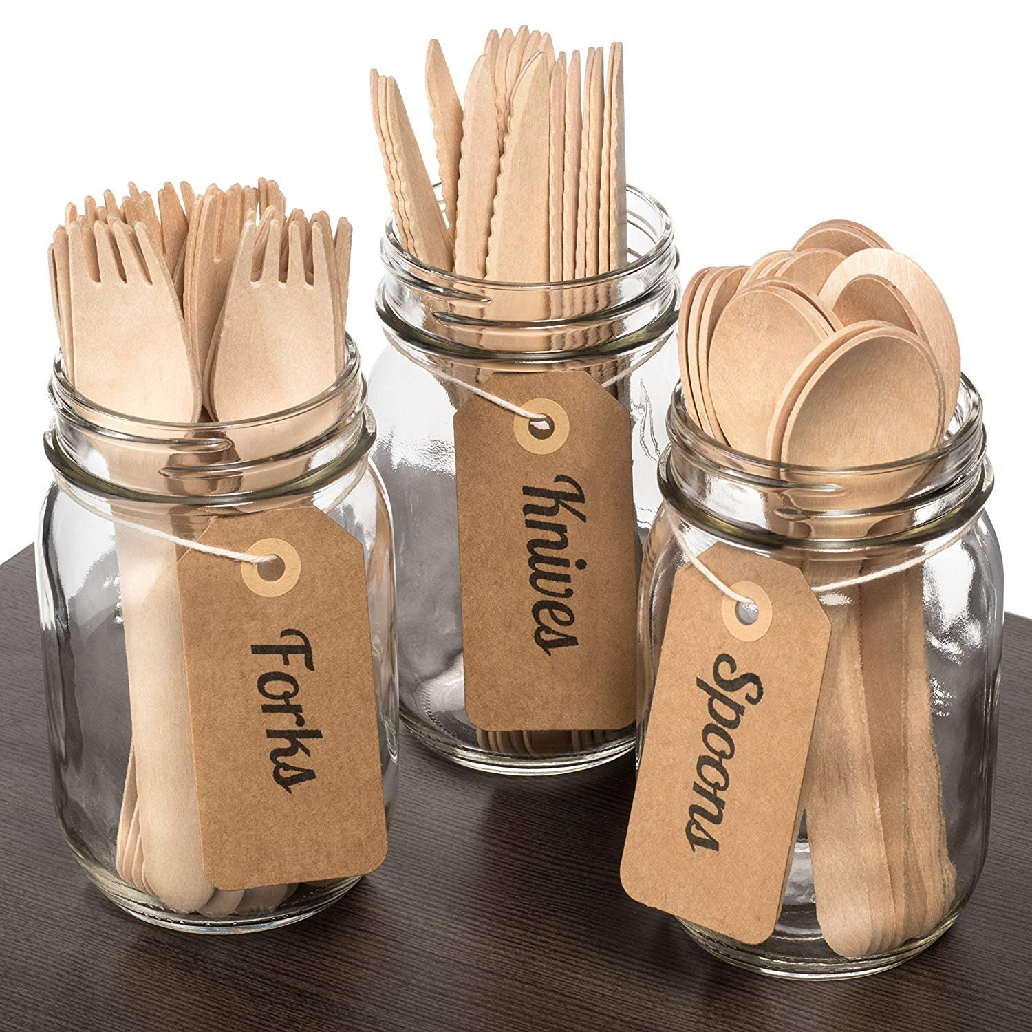 Wood set cutlery biodegradable-disposable-eco friendly-100 wooden forks-100 knives-100 spoons-For Parties, Picnics, Events & Weddings – Durable & Environmentally Safe by OFO WOOD (Image #6)