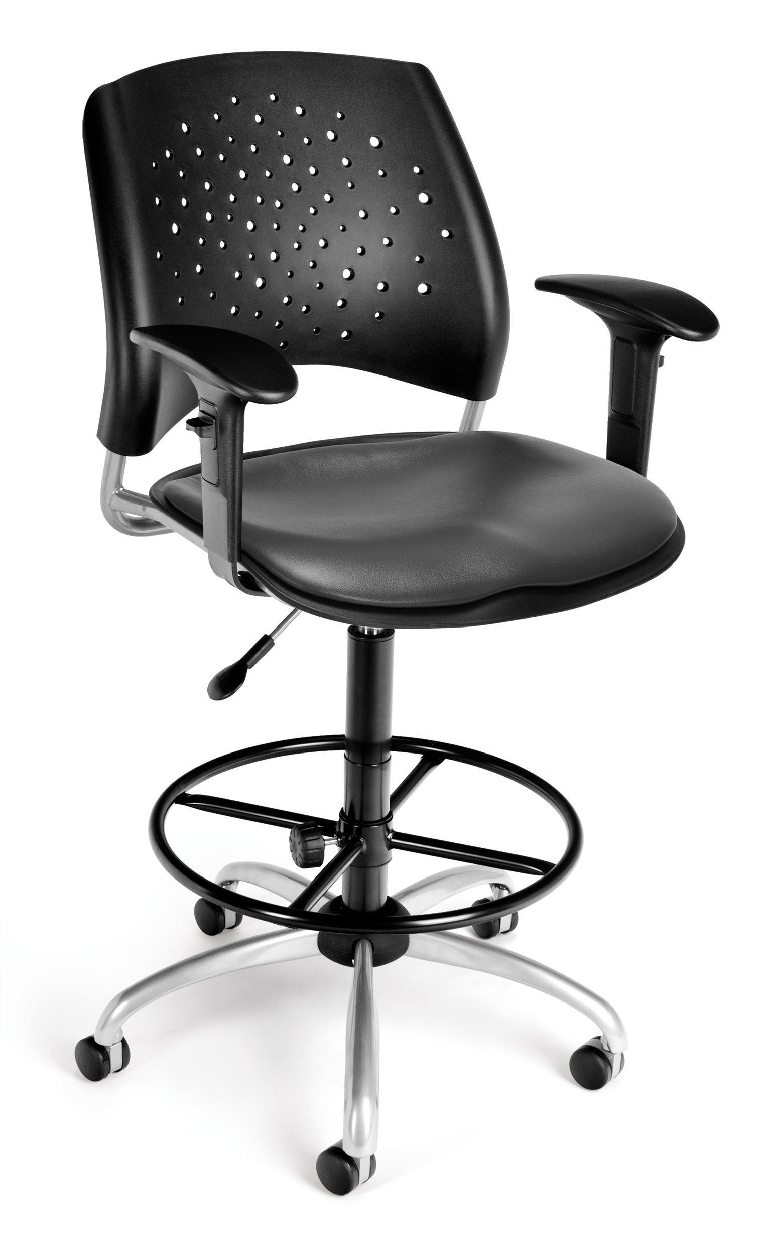 OFM 326-V-AA3DK-604 Stars Swivel Vinyl Chair with Arms and Drafting Kit