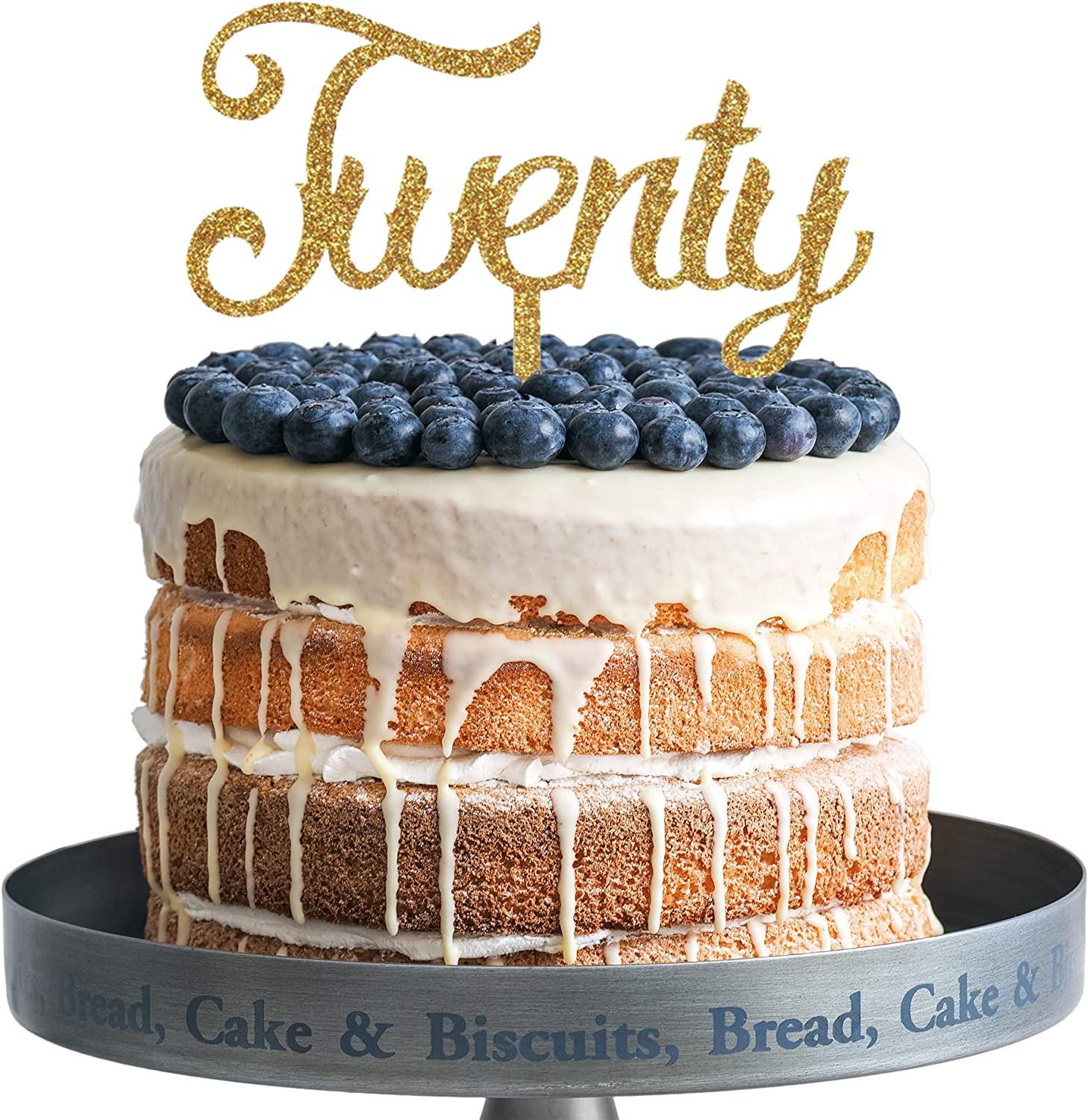 Amazing Amazon Com Twenty Happy Birthday Cake Topper Gold Glitter Acrylic Personalised Birthday Cards Veneteletsinfo
